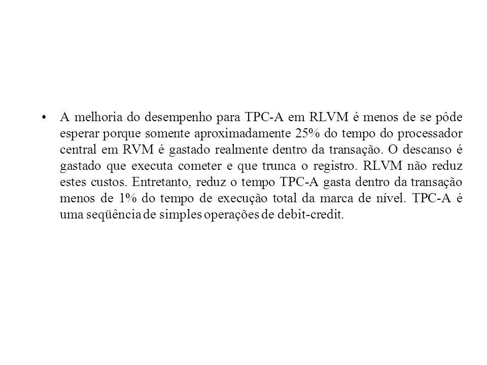 A melhoria do desempenho para TPC-A em RLVM é menos de se pôde esperar porque somente aproximadamente 25% do tempo do processador central em RVM é gas