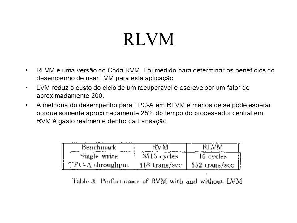 RLVM RLVM é uma versão do Coda RVM. Foi medido para determinar os benefícios do desempenho de usar LVM para esta aplicação. LVM reduz o custo do ciclo