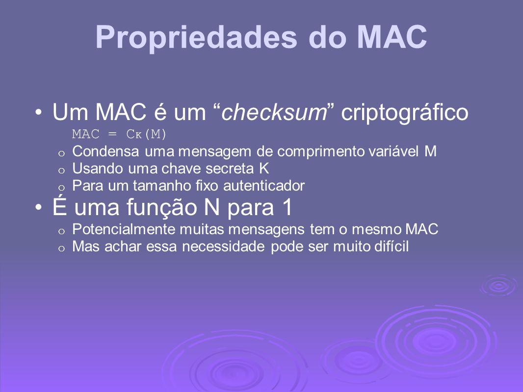 Propriedades do MAC Um MAC é um checksum criptográfico MAC = C K (M) o Condensa uma mensagem de comprimento variável M o Usando uma chave secreta K o