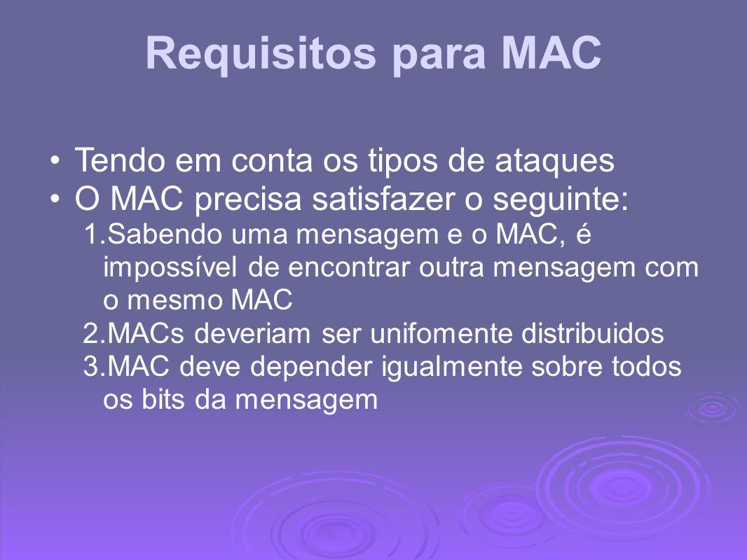 Requisitos para MAC Tendo em conta os tipos de ataques O MAC precisa satisfazer o seguinte: 1.Sabendo uma mensagem e o MAC, é impossível de encontrar