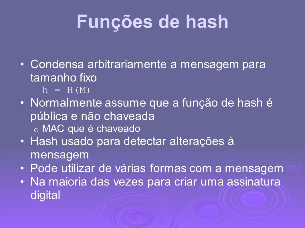 Funções de hash Condensa arbitrariamente a mensagem para tamanho fixo h = H(M) Normalmente assume que a função de hash é pública e não chaveada o MAC