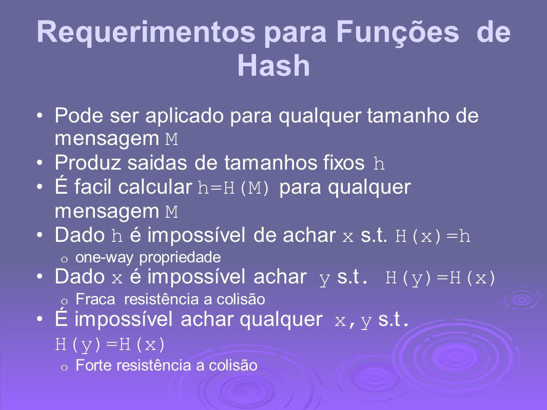 Requerimentos para Funções de Hash Pode ser aplicado para qualquer tamanho de mensagem M Produz saidas de tamanhos fixos h É facil calcular h=H(M) par