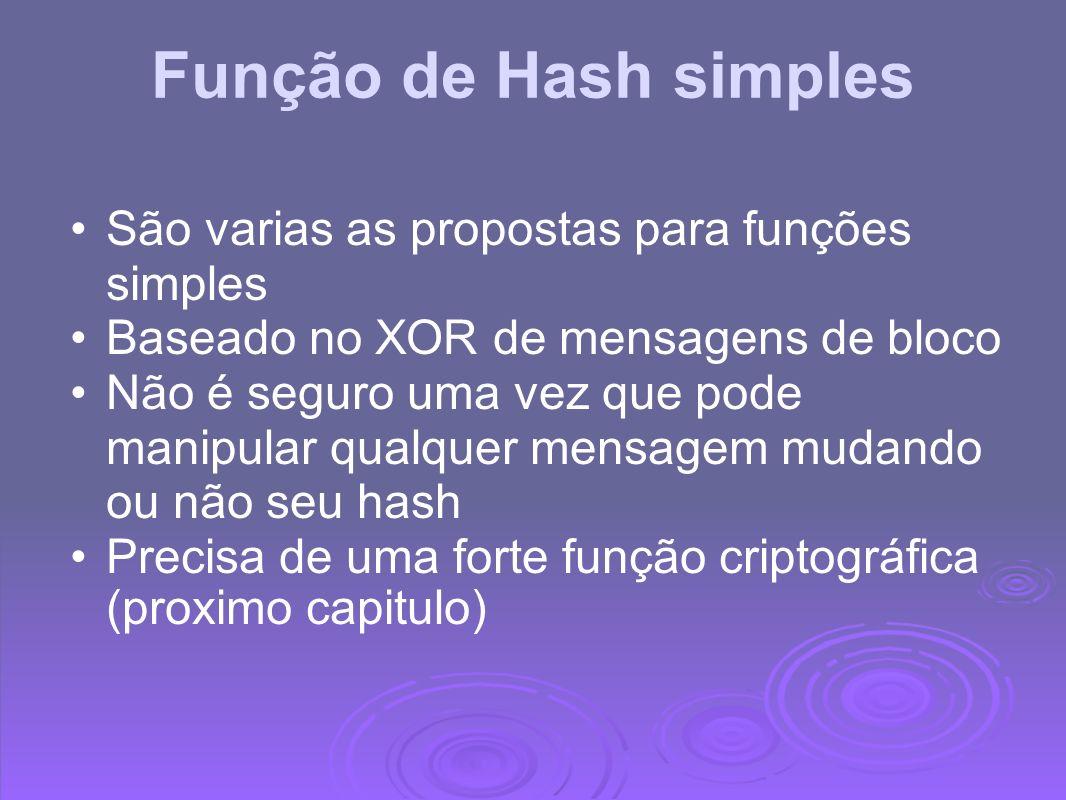 Função de Hash simples São varias as propostas para funções simples Baseado no XOR de mensagens de bloco Não é seguro uma vez que pode manipular qualq