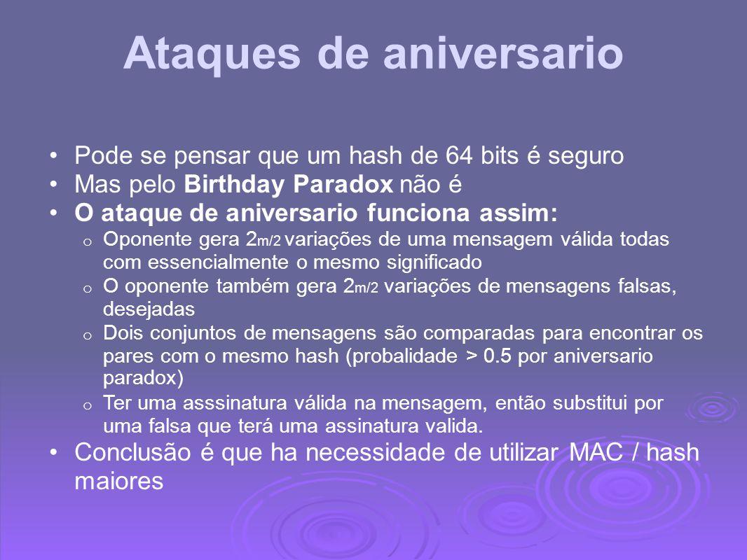 Ataques de aniversario Pode se pensar que um hash de 64 bits é seguro Mas pelo Birthday Paradox não é O ataque de aniversario funciona assim: o Oponen