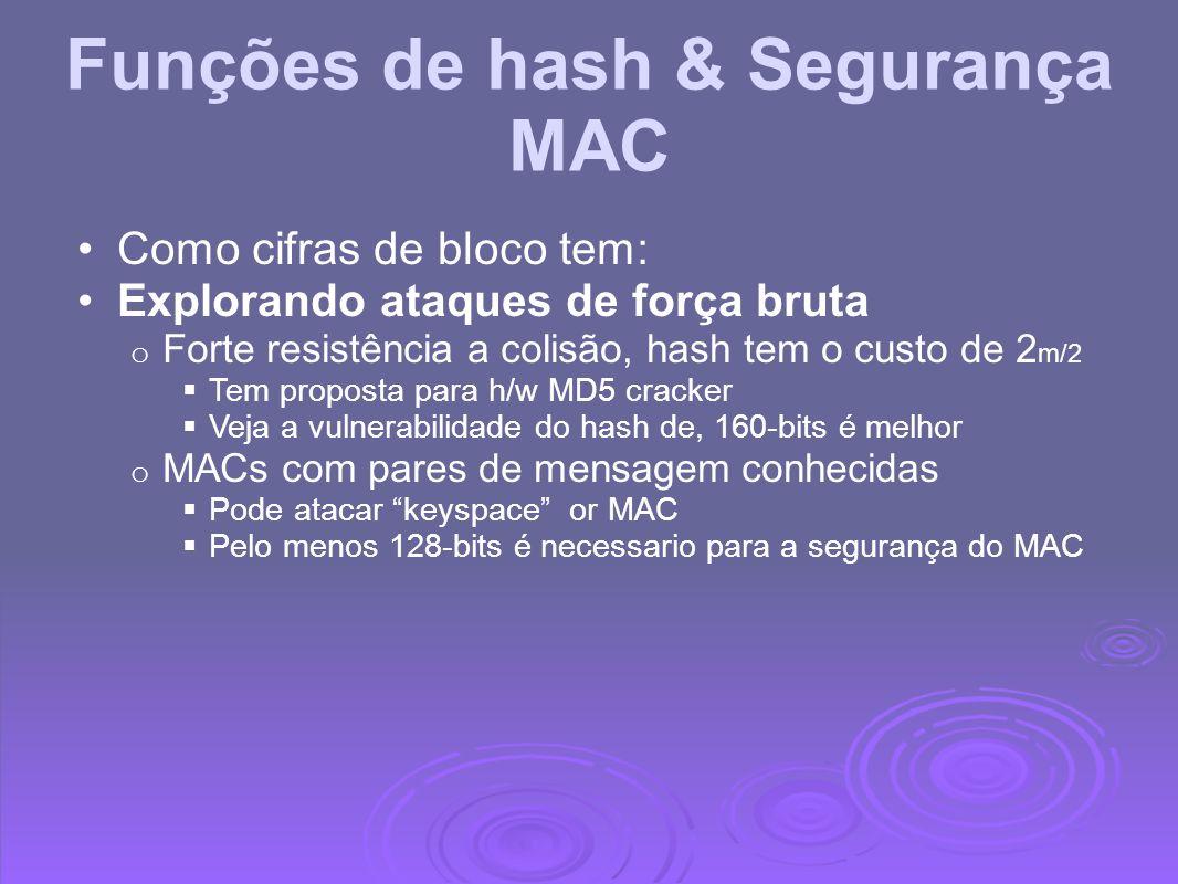 Funções de hash & Segurança MAC Como cifras de bloco tem: Explorando ataques de força bruta o Forte resistência a colisão, hash tem o custo de 2 m/2 T