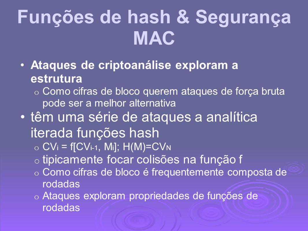 Funções de hash & Segurança MAC Ataques de criptoanálise exploram a estrutura o Como cifras de bloco querem ataques de força bruta pode ser a melhor a