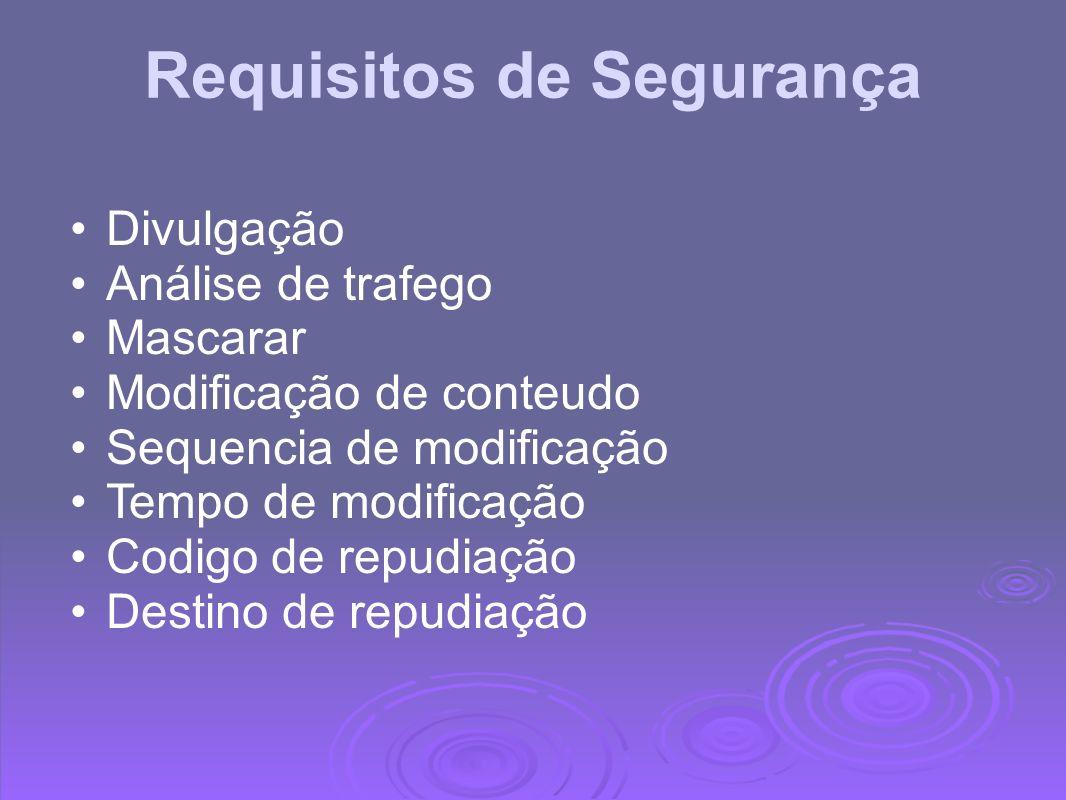 Requisitos de Segurança Divulgação Análise de trafego Mascarar Modificação de conteudo Sequencia de modificação Tempo de modificação Codigo de repudia
