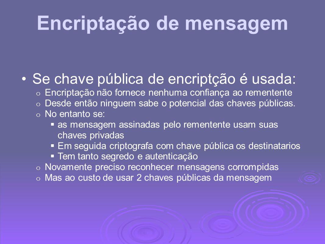 Encriptação de mensagem Se chave pública de encriptção é usada: o Encriptação não fornece nenhuma confiança ao rementente o Desde então ninguem sabe o