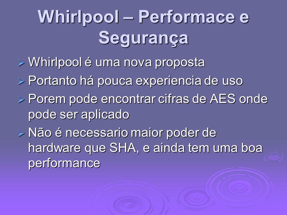 Whirlpool – Performace e Segurança Whirlpool é uma nova proposta Whirlpool é uma nova proposta Portanto há pouca experiencia de uso Portanto há pouca