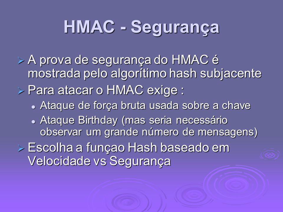 HMAC - Segurança A prova de segurança do HMAC é mostrada pelo algorítimo hash subjacente A prova de segurança do HMAC é mostrada pelo algorítimo hash