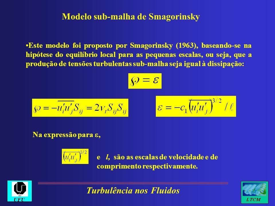 Modelo sub-malha de Smagorinsky Este modelo foi proposto por Smagorinsky (1963), baseando-se na hipótese do equilíbrio local para as pequenas escalas,