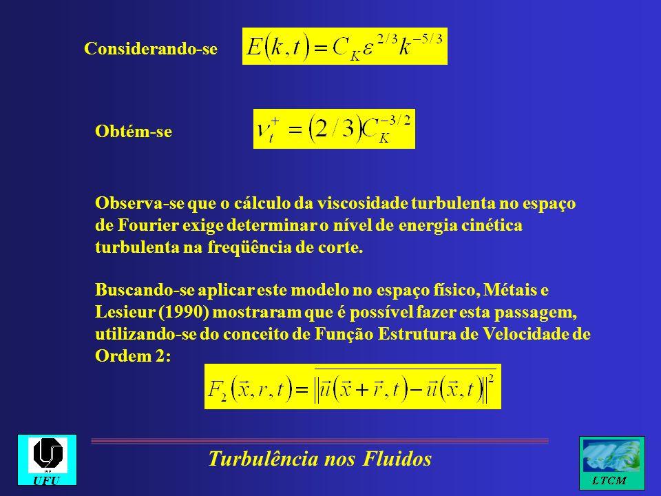Considerando-se Obtém-se Observa-se que o cálculo da viscosidade turbulenta no espaço de Fourier exige determinar o nível de energia cinética turbulen