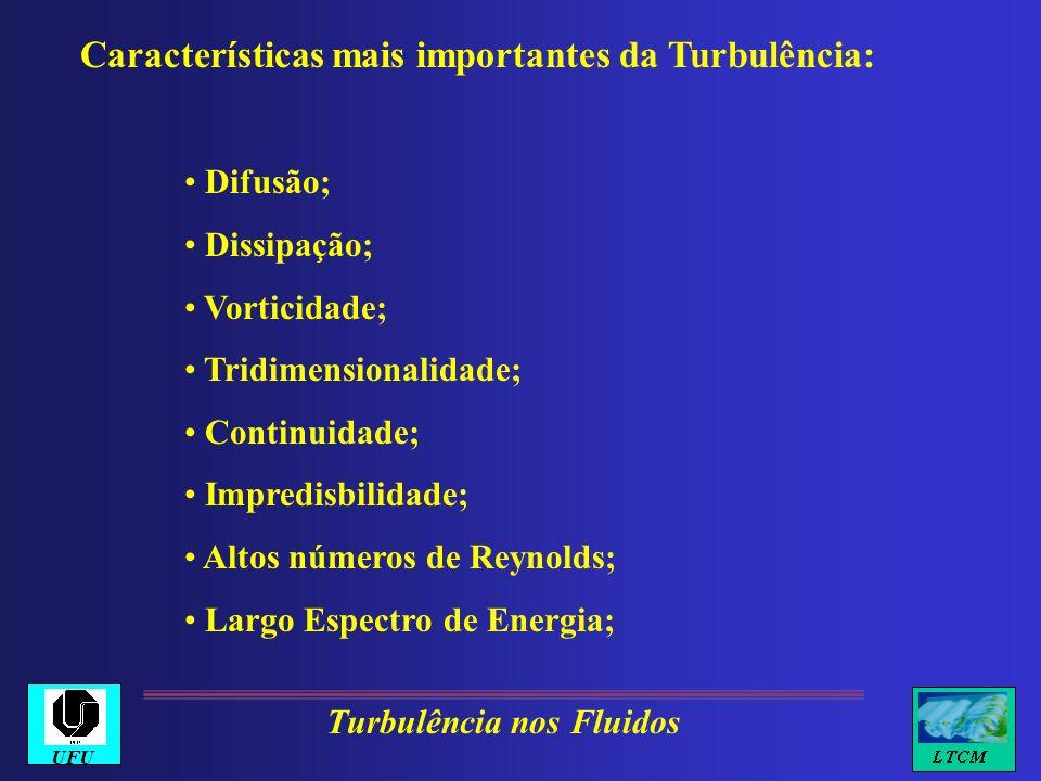 Características mais importantes da Turbulência: Difusão; Dissipação; Vorticidade; Tridimensionalidade; Continuidade; Impredisbilidade; Altos números