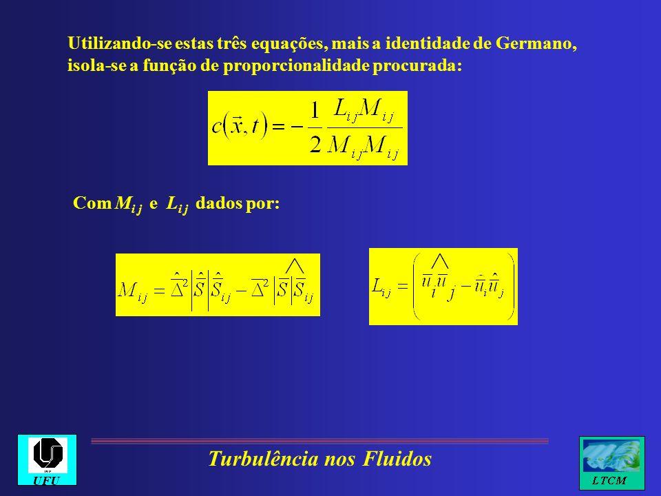 Utilizando-se estas três equações, mais a identidade de Germano, isola-se a função de proporcionalidade procurada: Com M i j e L i j dados por: Turbul