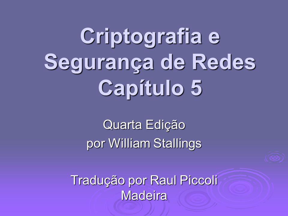 Criptografia e Segurança de Redes Capítulo 5 Quarta Edição por William Stallings Tradução por Raul Piccoli Madeira