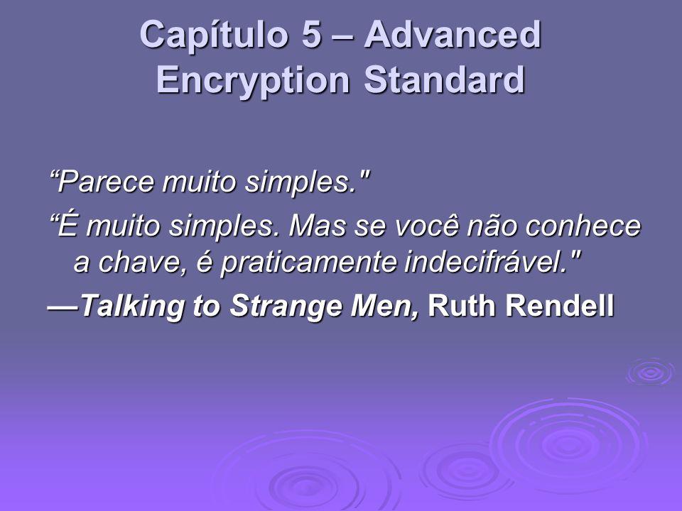 Capítulo 5 – Advanced Encryption Standard Parece muito simples.