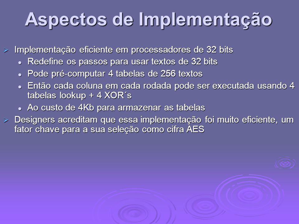 Aspectos de Implementação Implementação eficiente em processadores de 32 bits Implementação eficiente em processadores de 32 bits Redefine os passos p