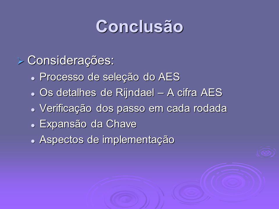 Conclusão Considerações: Considerações: Processo de seleção do AES Processo de seleção do AES Os detalhes de Rijndael – A cifra AES Os detalhes de Rij