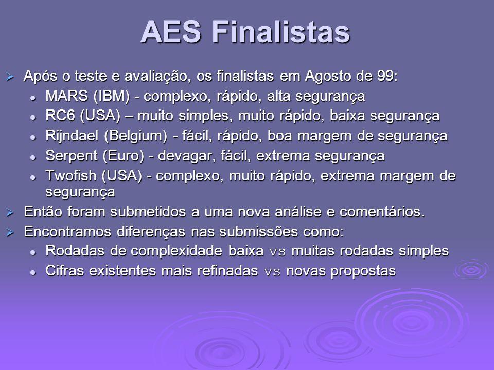 AES Finalistas Após o teste e avaliação, os finalistas em Agosto de 99: Após o teste e avaliação, os finalistas em Agosto de 99: MARS (IBM) - complexo