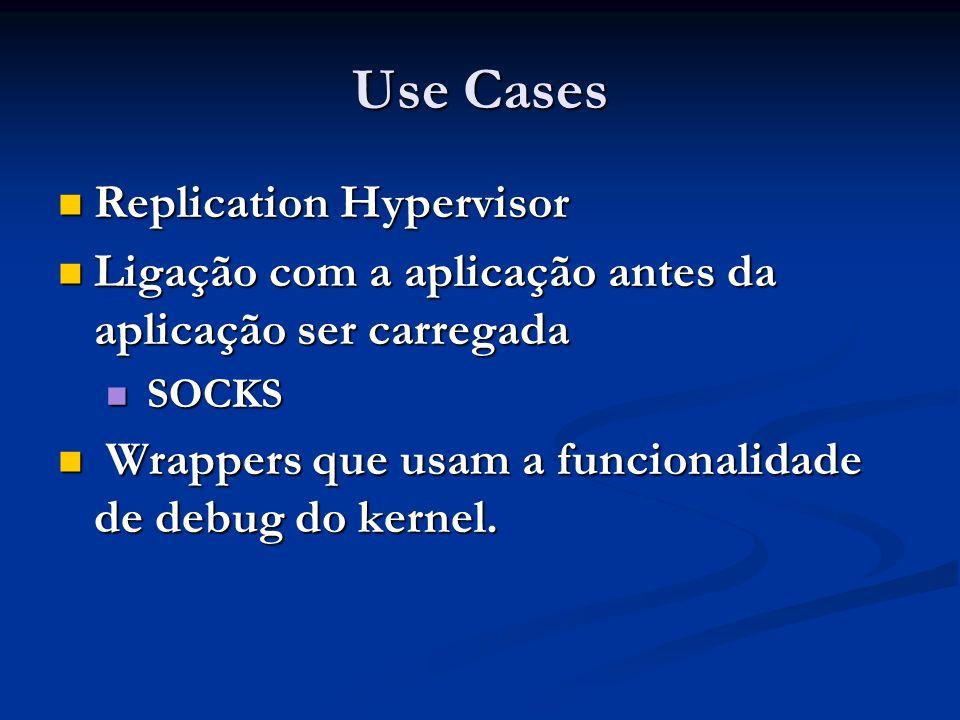 Use Cases Replication Hypervisor Replication Hypervisor Ligação com a aplicação antes da aplicação ser carregada Ligação com a aplicação antes da apli