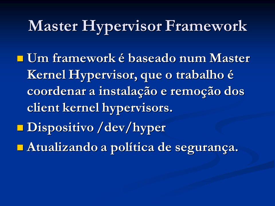 Master Hypervisor Framework Um framework é baseado num Master Kernel Hypervisor, que o trabalho é coordenar a instalação e remoção dos client kernel h
