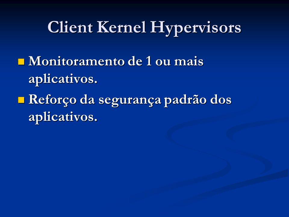 Client Kernel Hypervisors Monitoramento de 1 ou mais aplicativos. Monitoramento de 1 ou mais aplicativos. Reforço da segurança padrão dos aplicativos.