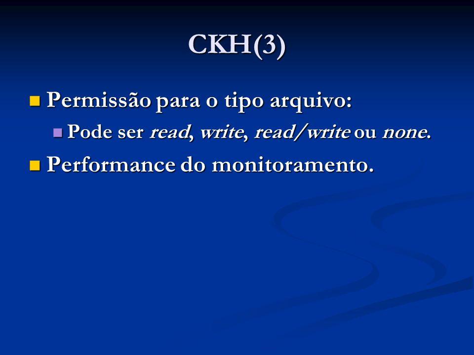 CKH(3) Permissão para o tipo arquivo: Permissão para o tipo arquivo: Pode ser read, write, read/write ou none. Pode ser read, write, read/write ou non