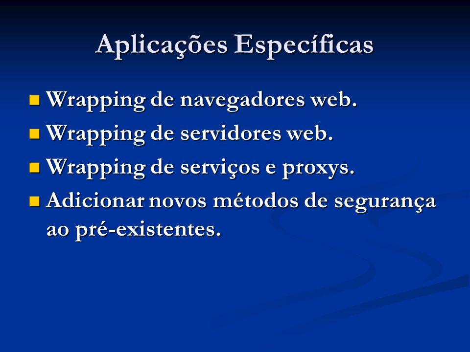 Aplicações Específicas Wrapping de navegadores web. Wrapping de navegadores web. Wrapping de servidores web. Wrapping de servidores web. Wrapping de s