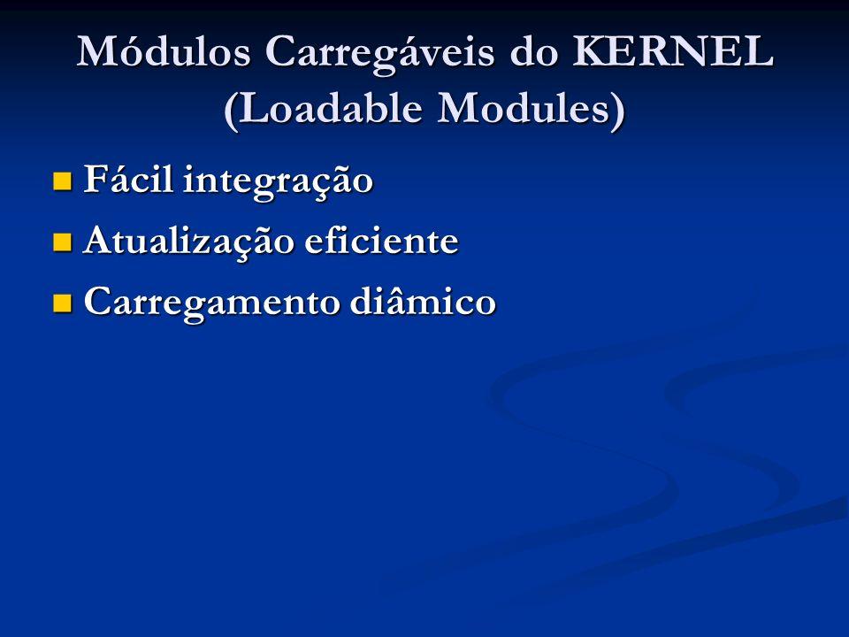 Módulos Carregáveis do KERNEL (Loadable Modules) Fácil integração Fácil integração Atualização eficiente Atualização eficiente Carregamento diâmico Ca