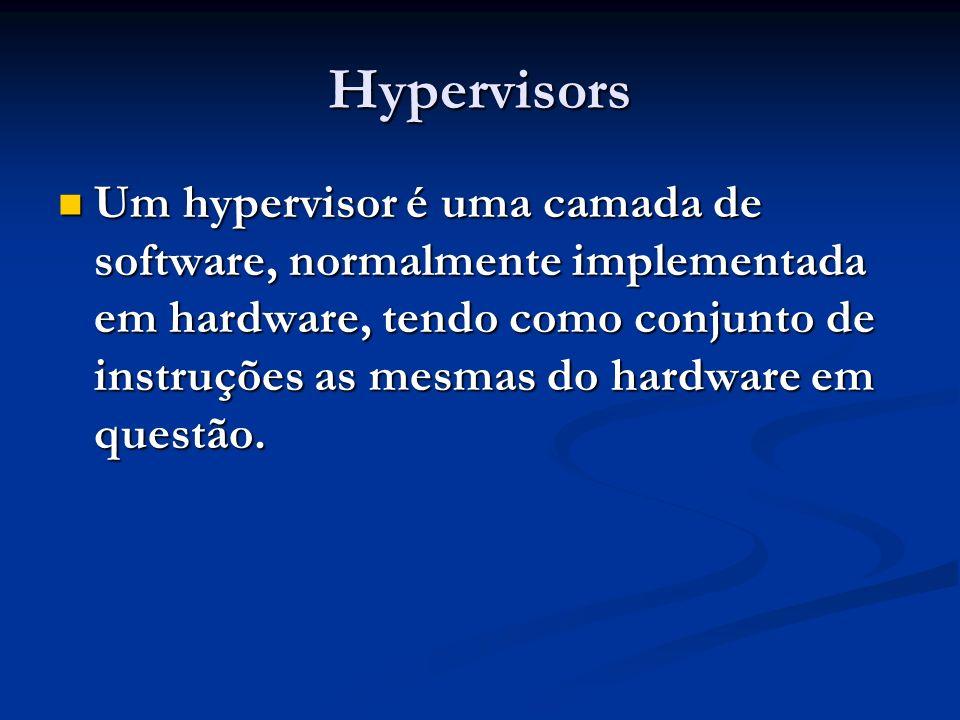 Hypervisors Um hypervisor é uma camada de software, normalmente implementada em hardware, tendo como conjunto de instruções as mesmas do hardware em q