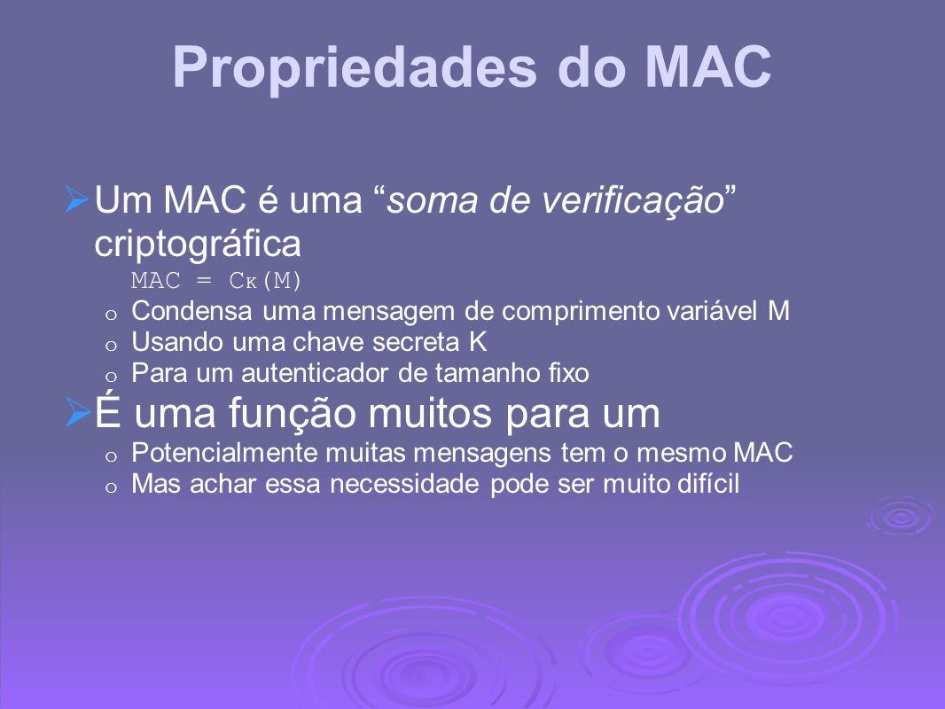 Propriedades do MAC Um MAC é uma soma de verificação criptográfica MAC = C K (M) o Condensa uma mensagem de comprimento variável M o Usando uma chave