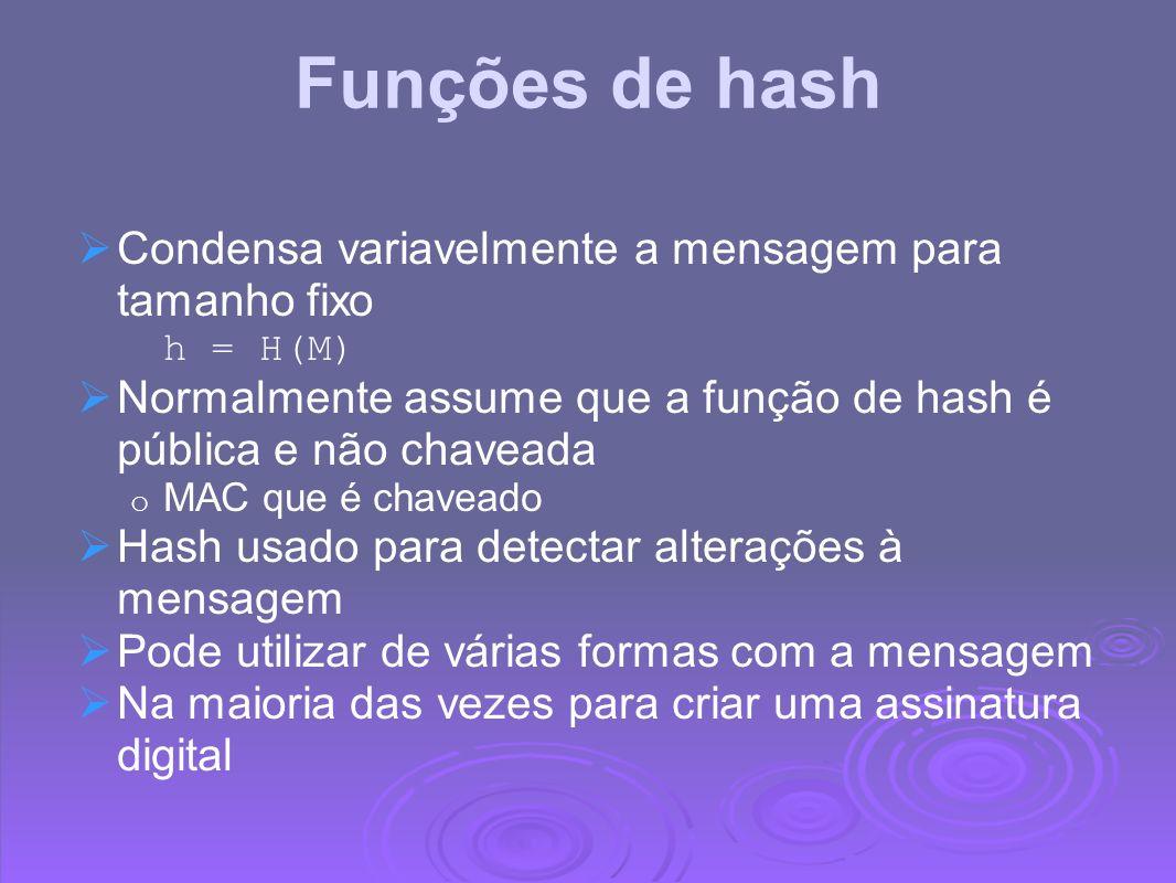 Funções de hash Condensa variavelmente a mensagem para tamanho fixo h = H(M) Normalmente assume que a função de hash é pública e não chaveada o MAC qu