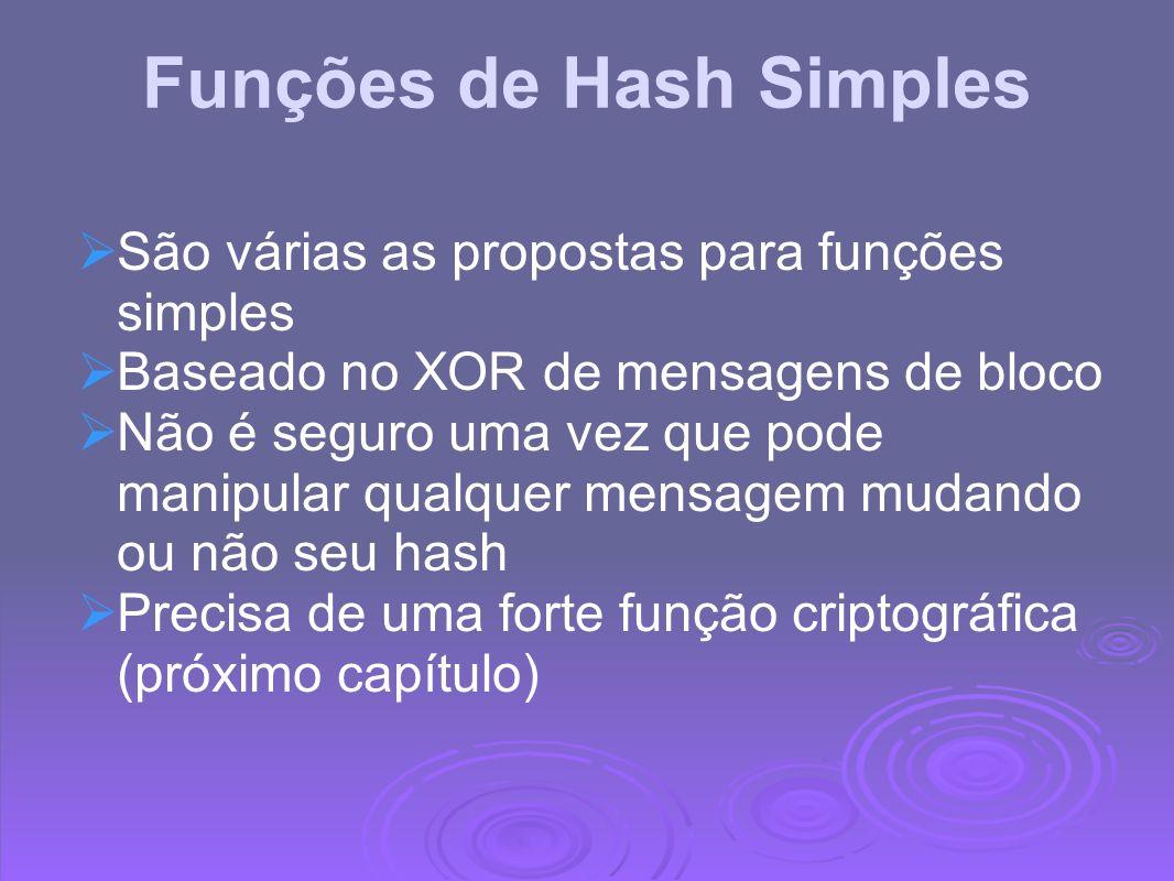 Funções de Hash Simples São várias as propostas para funções simples Baseado no XOR de mensagens de bloco Não é seguro uma vez que pode manipular qual