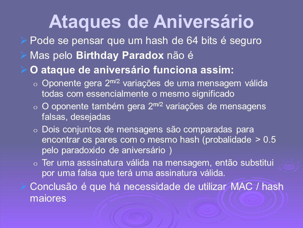 Ataques de Aniversário Pode se pensar que um hash de 64 bits é seguro Mas pelo Birthday Paradox não é O ataque de aniversário funciona assim: o Oponen