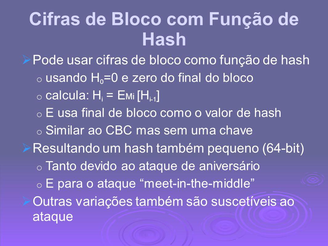 Cifras de Bloco com Função de Hash Pode usar cifras de bloco como função de hash o usando H 0 =0 e zero do final do bloco o calcula: H i = E Mi [H i-1