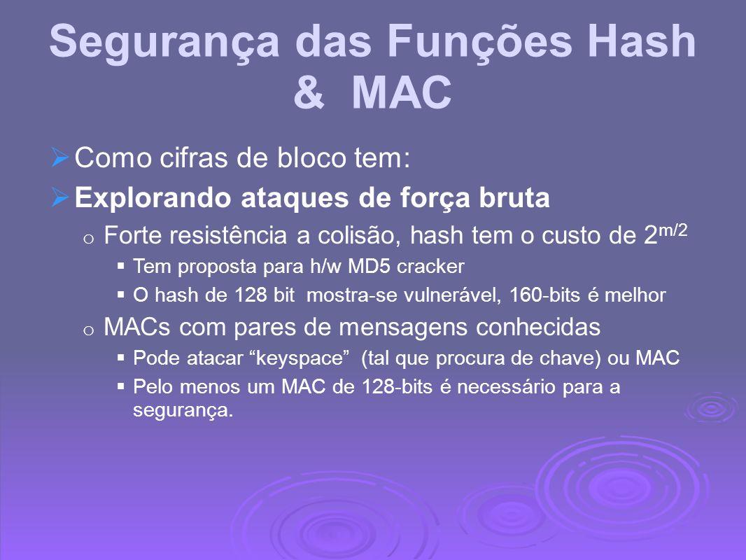 Segurança das Funções Hash & MAC Como cifras de bloco tem: Explorando ataques de força bruta o Forte resistência a colisão, hash tem o custo de 2 m/2