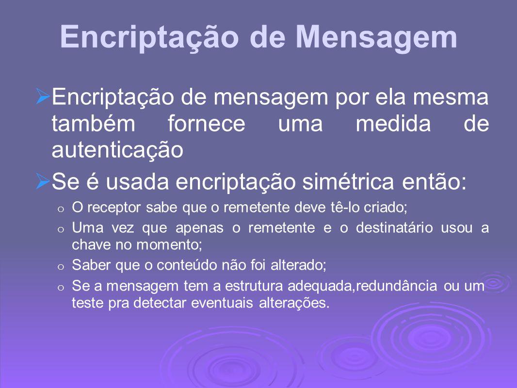 Encriptação de Mensagem Se chave pública de encriptção é usada: o Encriptação não fornece confiança ao rementente o Desde que ninguém sabe o potencial das chaves públicas.