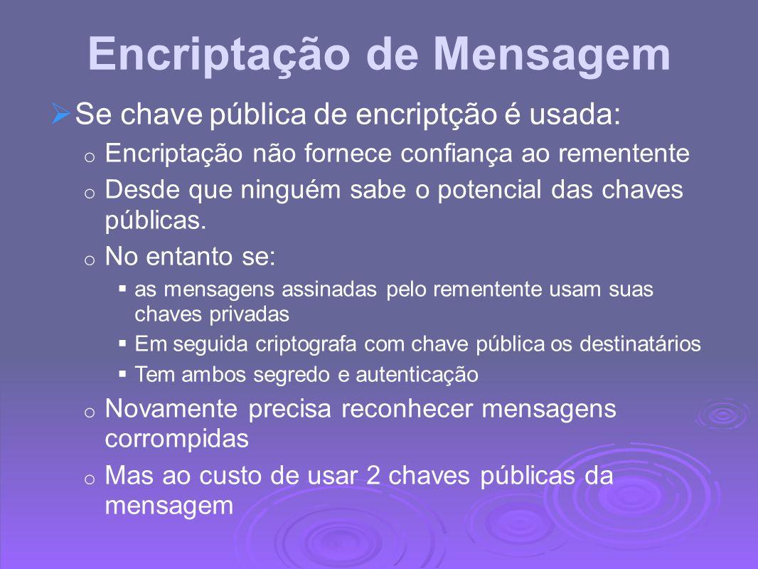 Encriptação de Mensagem Se chave pública de encriptção é usada: o Encriptação não fornece confiança ao rementente o Desde que ninguém sabe o potencial