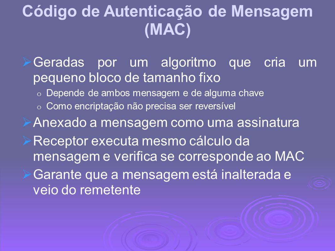 Código de Autenticação de Mensagem (MAC) Geradas por um algoritmo que cria um pequeno bloco de tamanho fixo o Depende de ambos mensagem e de alguma ch