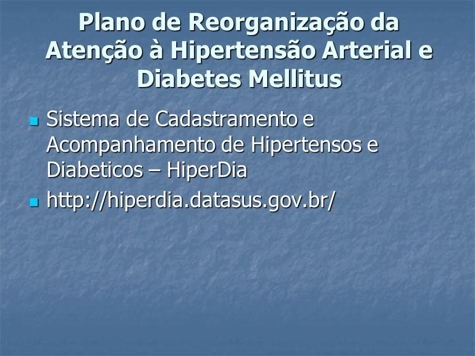 Plano de Reorganização da Atenção à Hipertensão Arterial e Diabetes Mellitus Sistema de Cadastramento e Acompanhamento de Hipertensos e Diabeticos – HiperDia Sistema de Cadastramento e Acompanhamento de Hipertensos e Diabeticos – HiperDia http://hiperdia.datasus.gov.br/ http://hiperdia.datasus.gov.br/