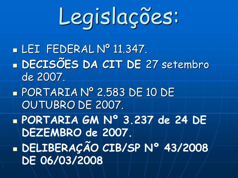Legislações: LEI FEDERAL Nº 11.347.LEI FEDERAL Nº 11.347.