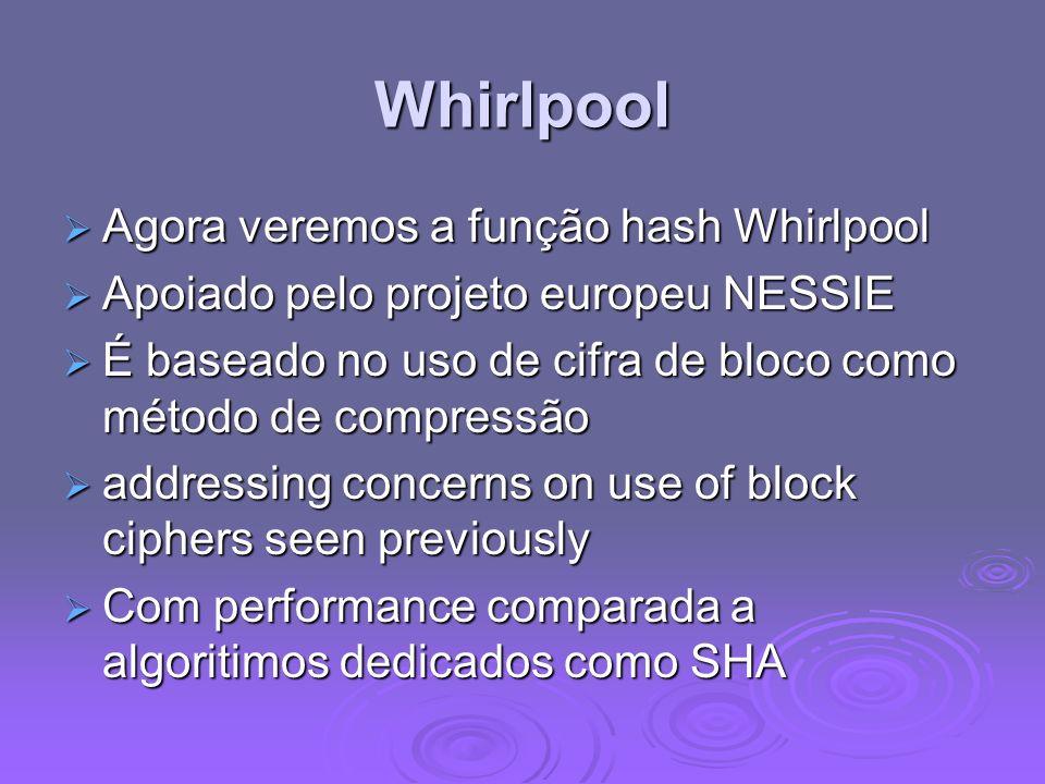 Whirlpool Agora veremos a função hash Whirlpool Agora veremos a função hash Whirlpool Apoiado pelo projeto europeu NESSIE Apoiado pelo projeto europeu