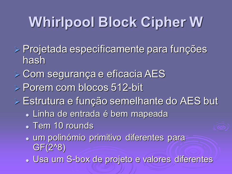 Whirlpool Block Cipher W Projetada especificamente para funções hash Projetada especificamente para funções hash Com segurança e eficacia AES Com segurança e eficacia AES Porem com blocos 512-bit Porem com blocos 512-bit Estrutura e função semelhante do AES but Estrutura e função semelhante do AES but Linha de entrada é bem mapeada Linha de entrada é bem mapeada Tem 10 rounds Tem 10 rounds um polinómio primitivo diferentes para GF(2^8) um polinómio primitivo diferentes para GF(2^8) Usa um S-box de projeto e valores diferentes Usa um S-box de projeto e valores diferentes