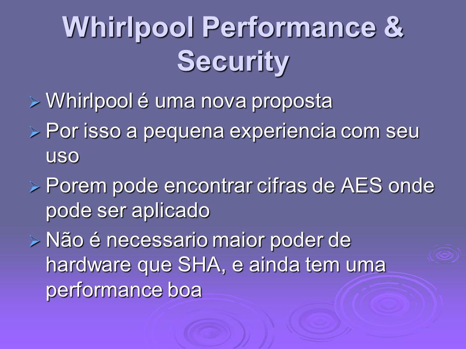Whirlpool Performance & Security Whirlpool é uma nova proposta Whirlpool é uma nova proposta Por isso a pequena experiencia com seu uso Por isso a pequena experiencia com seu uso Porem pode encontrar cifras de AES onde pode ser aplicado Porem pode encontrar cifras de AES onde pode ser aplicado Não é necessario maior poder de hardware que SHA, e ainda tem uma performance boa Não é necessario maior poder de hardware que SHA, e ainda tem uma performance boa