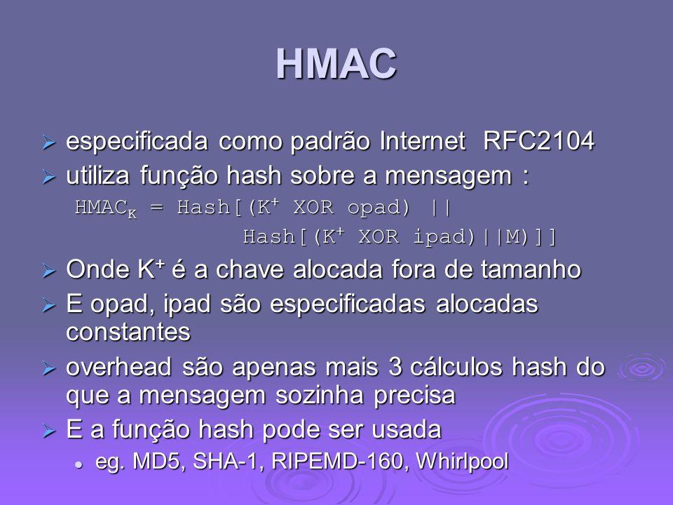 HMAC especificada como padrão Internet RFC2104 especificada como padrão Internet RFC2104 utiliza função hash sobre a mensagem : utiliza função hash sobre a mensagem : HMAC K = Hash[(K + XOR opad) || Hash[(K + XOR ipad)||M)]] Onde K + é a chave alocada fora de tamanho Onde K + é a chave alocada fora de tamanho E opad, ipad são especificadas alocadas constantes E opad, ipad são especificadas alocadas constantes overhead são apenas mais 3 cálculos hash do que a mensagem sozinha precisa overhead são apenas mais 3 cálculos hash do que a mensagem sozinha precisa E a função hash pode ser usada E a função hash pode ser usada eg.