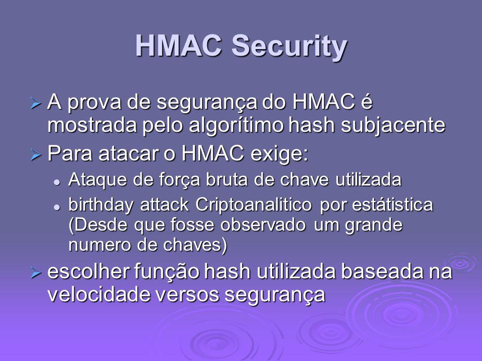 HMAC Security A prova de segurança do HMAC é mostrada pelo algorítimo hash subjacente A prova de segurança do HMAC é mostrada pelo algorítimo hash sub