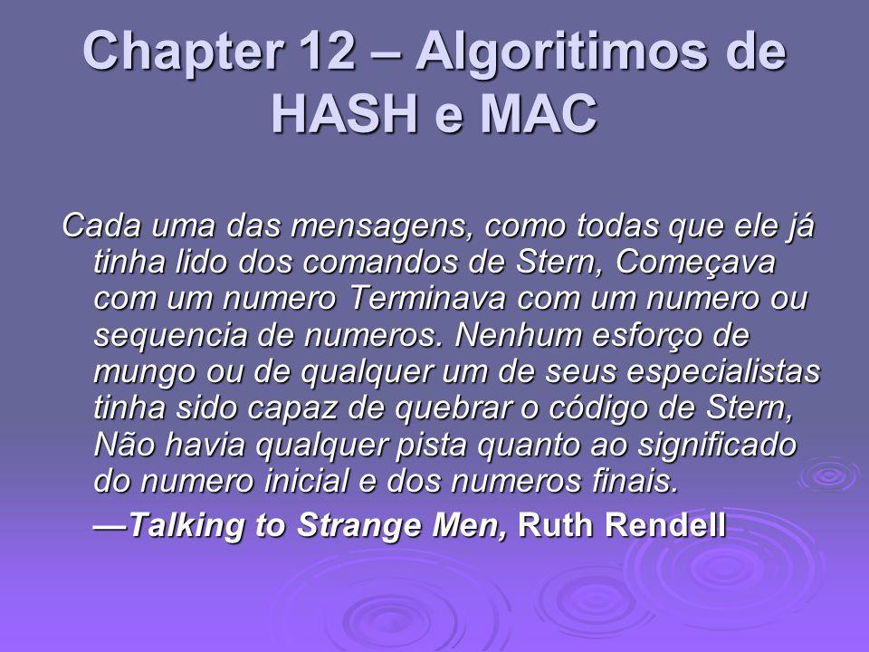 Chapter 12 – Algoritimos de HASH e MAC Cada uma das mensagens, como todas que ele já tinha lido dos comandos de Stern, Começava com um numero Terminava com um numero ou sequencia de numeros.