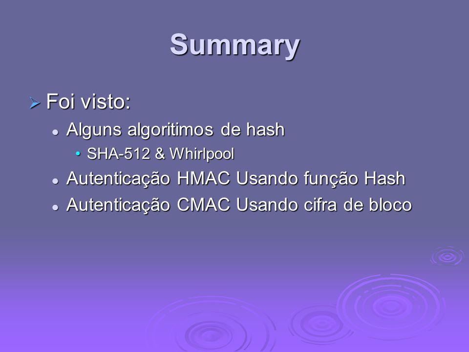 Summary Foi visto: Foi visto: Alguns algoritimos de hash Alguns algoritimos de hash SHA-512 & WhirlpoolSHA-512 & Whirlpool Autenticação HMAC Usando função Hash Autenticação HMAC Usando função Hash Autenticação CMAC Usando cifra de bloco Autenticação CMAC Usando cifra de bloco