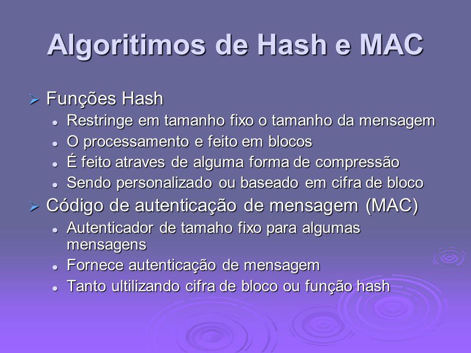 Algoritimos de Hash e MAC Funções Hash Funções Hash Restringe em tamanho fixo o tamanho da mensagem Restringe em tamanho fixo o tamanho da mensagem O processamento e feito em blocos O processamento e feito em blocos É feito atraves de alguma forma de compressão É feito atraves de alguma forma de compressão Sendo personalizado ou baseado em cifra de bloco Sendo personalizado ou baseado em cifra de bloco Código de autenticação de mensagem (MAC) Código de autenticação de mensagem (MAC) Autenticador de tamaho fixo para algumas mensagens Autenticador de tamaho fixo para algumas mensagens Fornece autenticação de mensagem Fornece autenticação de mensagem Tanto ultilizando cifra de bloco ou função hash Tanto ultilizando cifra de bloco ou função hash