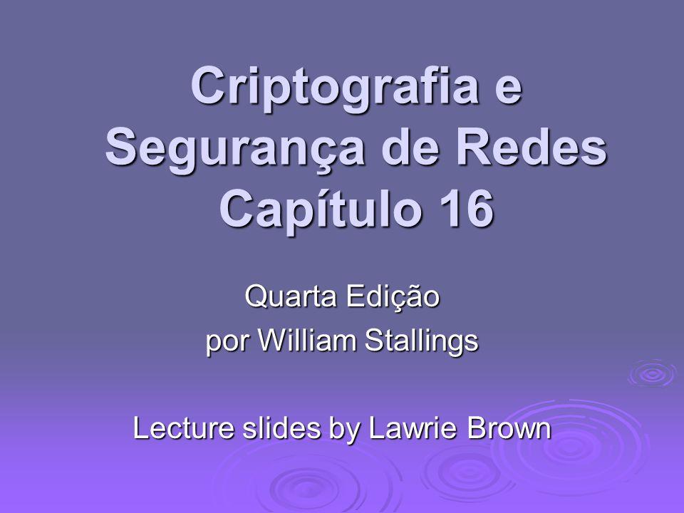 Criptografia e Segurança de Redes Capítulo 16 Quarta Edição por William Stallings Lecture slides by Lawrie Brown